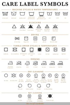 Care Label Symbols the concept wardrobe Fashion Terminology, Fashion Terms, Clothing Packaging, Clothing Labels, Sewing Basics, Sewing Hacks, Fashion Sewing, Diy Fashion, Sewing Clothes