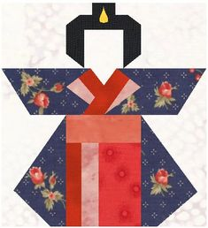 Geisha Doll paper pieced pattern and measurements for quilt in pdf