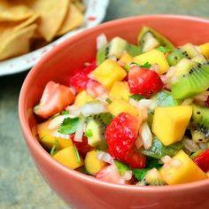 Kiwi, Mango and Strawberry Salsa