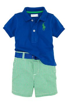Ralph Lauren Polo Gingham Shorts Set (Infant)