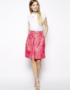 Ingrandisci ASOS Grandi marche - Gonna stile prom in jacquard rosa
