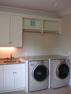 Lightweight removeable counter - open shelf w/ hanging rod - needs platform, doors to hide appliances & drying clothes