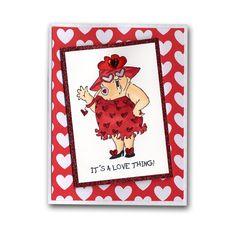 Girlfriend Stamp Copic Valentine Card
