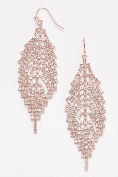 Rose gold crystal leaf chandelier earrings Prom jewelry from David s Bridal Prom Earrings, Prom Jewelry, Opal Earrings, Rose Gold Jewelry, Chandelier Earrings, Wedding Jewelry, Jewelery, Fine Jewelry, Gold Jewellery