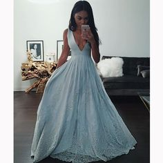 Sexy Blue A-line Long Prom Dress 2016 Wedding