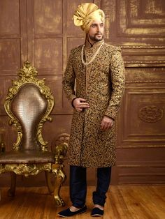 Buy Utsav Fashion Golden And Blue Embroidered Achkan Sherwani online in India at best price.Buy Embroidered Brocade Sherwani in Dark Blue and Golden online,Item code: Occasion: Wedding, Sherwani For Men Wedding, Wedding Dresses Men Indian, Groom Wedding Dress, Groom Dress, Wedding Men, Wedding Suits, Ethnic Wedding, Tuxedo Wedding, Indian Weddings