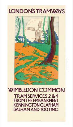"""WIMBLEDON COMMON - LONDON'S TRAMWAYS"" windmill CANVAS print of vintage poster | eBay"