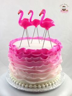 Pink Flamingo Cake, Flamingo Cake, Ruffle Cake, Flirty cake, pink cake