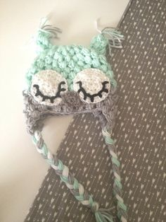 Mint Sleepy Owl Crochet Hat by Nooches on Etsy, $25.00