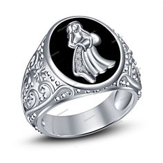 0.25 Carat Silver Aquarius Zodiac Sign White Simulated Diamond Men's Band Ring…