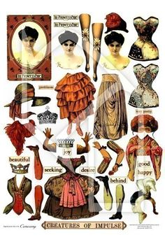 Paper Doll Mixed Media Elements in Color and Black/White Digital Collage Print Sheet no143. $2.95, via Etsy.