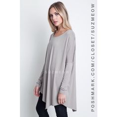 NWT Grey Asymmetrical Tunic Top • S, M, L Features: Lightweight, flowy long sleeve tunic top in silver (grey)Rounded neckline and a loose fit add a flirty feel to this topAsymmetrical hem design Pairs beautifully with a pair of leggings and boots!Available in sizes S, M, and L in my closet ✅Bundles are discounted!✅ No trades No PP Katana Couture Tops