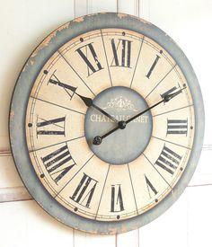 Zauberhafte Landhaus Wanduhr Uhr im Shabby Chic french Antik Chic 60 cm XXL: Amazon.de: Küche & Haushalt