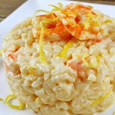 Risoto de camarão com queijo mascarpone e limão siciliano
