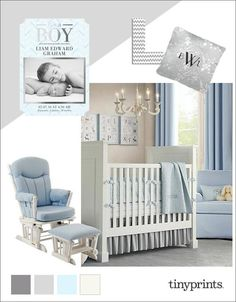 This light blue and grey baby nursery decor inspiration board has soft gentle tones for a sweet baby dreamland.