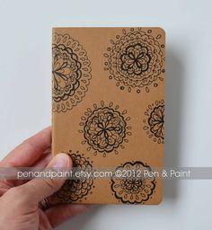 Hand Drawn Notebook, Journal, Diary, Sketchbook, Idea Book, Doily, Mandala, Mini Moleskine Cahier, Kraft, OOAK. $13.50, via Etsy.