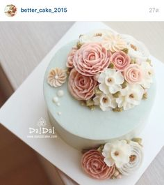 Korean 3D flower buttercream cake.