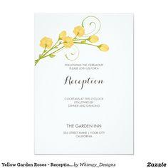"Yellow Garden Roses - Reception Card 3.5"" X 5"" Invitation Card"
