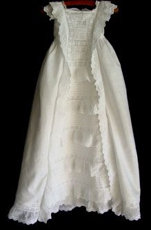 Awesome antique cotton christening gown circa 1890.  Isabelle & Joes christening gown  1987 & 1990