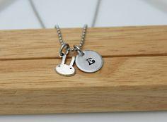 Hand Stamped Jewelry - Personalized Jewelry - Initial Jewelry - Bunny Necklace