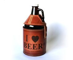 I heart BEER Growler Cover Leather by PedalHappyDesign on Etsy, $70.00