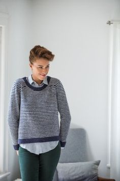 BrooklynTweed EAVES MIXED-GAUGE STRIPED PULLOVER by Melissa Wehrle