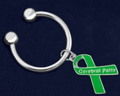 Cerebral Palsy Green Ribbon Key Chains. These key chains are approximately 1 1/2 inches in diameter and the charms are approximately 3/4 inch tall. Packaged 18 key chains per pack. Product Code: K-29-13CP