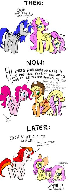 Fluttershy past present future.  This is so me.
