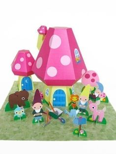 Gnome Mushroom Cottage Playset Printable Paper by FantasticToys