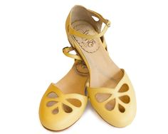 Free shipping  Leather flat sandal in yellow. by QuieroJune, $213.00  I wish...!