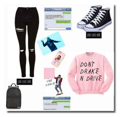 """""""Drake at School"""" by sofialarson09 ❤ liked on Polyvore featuring Converse, Topshop, Casetify, Drakes London and Trademark Fine Art"""