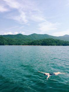 Lake Fontana, Smoky Mountains, North Carolina #bodypositive #plussize #adventure #lake #mountain #vacation #beautiful #peaceful