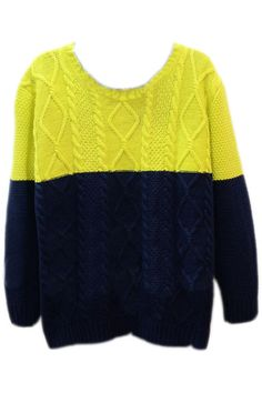 Color Block Rhombus Yellow Jumper