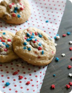 Star-Spangled 4th of July Soft Milk Chocolate Chip Cookies | bakeat350.blogspot.com