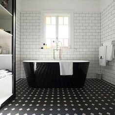 Bon Beautiful Vintage Modern Blacku0026 White Tile Master Bath With Winckelmans  Floor And White Subway Tiles