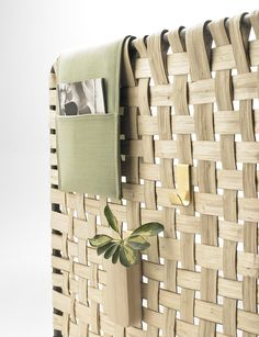 Chestnut wood woven that evokes baskets @alkifurniture
