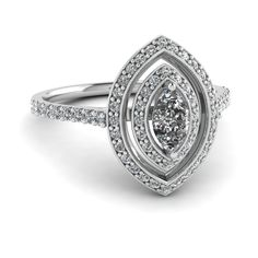 Marquise Shaped Double Halo Engagement Ring with Diamonds in 14K White Gold exclusively styled by Fascinating Diamonds