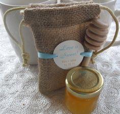 Honey Burlap Love is Sweet Favor Bags - Set of 10 - 3x5 - Item 3B1137