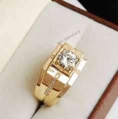 New Mens Yellow Gold White Diamond Ring Solitaire Band Pinky Ring Carat Gold Jewelry Simple, Gold Rings Jewelry, Jewelry Sets, Jewelry Watches, Jewelry Making, Jewelry Stand, Gold Jewellery, Quartz Jewelry, Copper Jewelry
