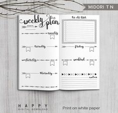 Printable weekly planner Midori weekly planner for the Bullet Journal. The post Printable Bullet Journal Weekly inserts, Midori Weekly Planner, Printable Midori Traveler& Notebook weekly planner inserts, PDF file appeared first on Trendy. Bullet Journal Agenda, Bullet Journal Spread, Bullet Journal Ideas Pages, Bullet Journal Inspiration, Journal Pages, Bullet Journals, Journal Art, Bullet Journal Weekly Layout, Bullet Journal Format