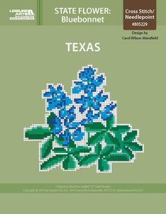Texas Bluebonnet ePattern - Projects made using the colored cross stitch chart of your state flower is an added addition to your home.