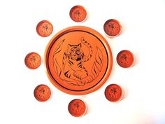 Orange Tiger Hand Screened Vintage Metal Tray by injoytreasures, $24.00