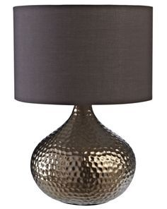 This attractive, modern ceramic table lamp from Colours is a lovely lighting piece, with a chocolate-brown shade and a textured teardrop-shaped high-gloss bronze-effect base. #lighting #lamp  http://bq.co.uk/LRdDNV