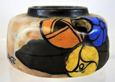 1920s French Art Deco Pottery Inkwell Signed L. Dage