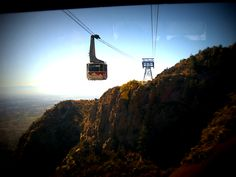on the sandia peak tramway in albuquerque, nm. got a pic of the ascending tram. the sandia mountains are gorgeous. it's a must see when in albuquerque!