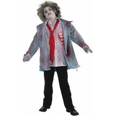 Zombie Boy Child Halloween Costume, Size: M (8-10), Multicolor