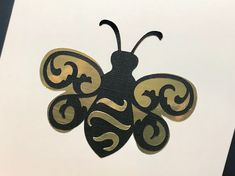 Gold foil card over-layed with black Foil Card, Blank Cards, Greeting Cards Handmade, Gold Foil, Bee, Unique, Black, Hand Made Greeting Cards, Black People