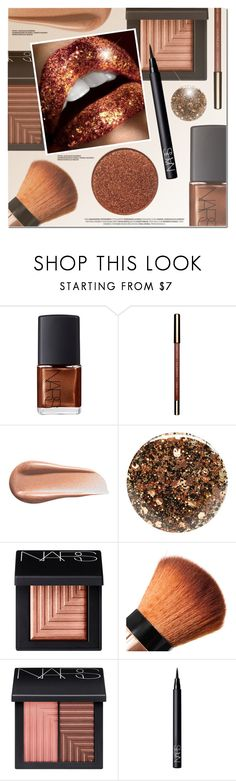 """Glitter Lips"" by anna-anica ❤ liked on Polyvore featuring beauty, NARS Cosmetics, Kevyn Aucoin and Nails Inc."