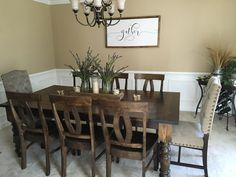 James James: Baluster Table 7 x 45 in Dark Walnut Stain. Pictured with Elizabeth Chairs. Dinning Room Table Decor, Dinning Table Centerpiece, Pine Dining Table, Farmhouse Dining Room Table, Dining Room Paint, Dining Table Chairs, Dining Room Design, Walnut Stain, Dark Walnut