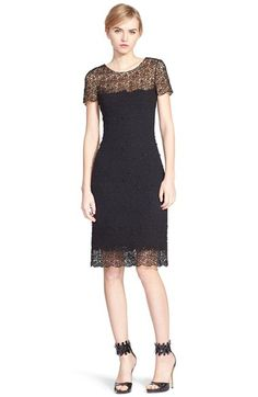 Oscar de la Renta Lace Trim Tweed Sheath Dress available at #Nordstrom
